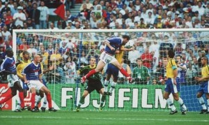 Zinedine Zidane heads home his first in the 1998 FIFA World Cup final