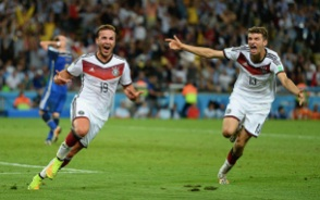 Germany celebrate as Mario Gotze scores the crucial goal only 7 minutes from time