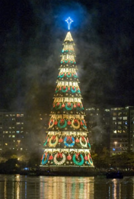 in the south american city of rio de janeiro to an audience of thousands the worlds biggest floating christmas tree has been unveiled